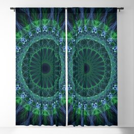 Bright green and blue mandala Blackout Curtain