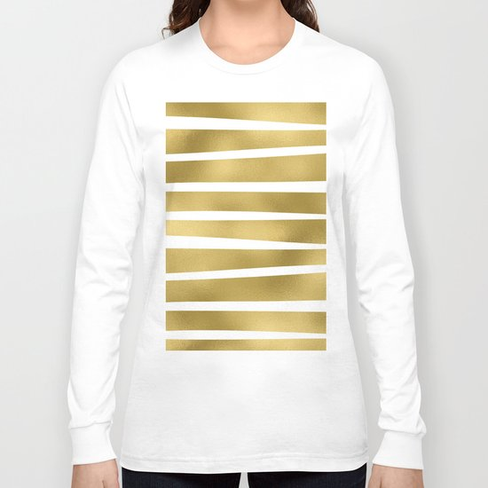 Gold unequal glitter stripes on clear white - horizontal pattern Long Sleeve T-shirt