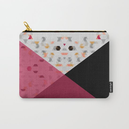 Little Triangles with Black and Pink Carry-All Pouch