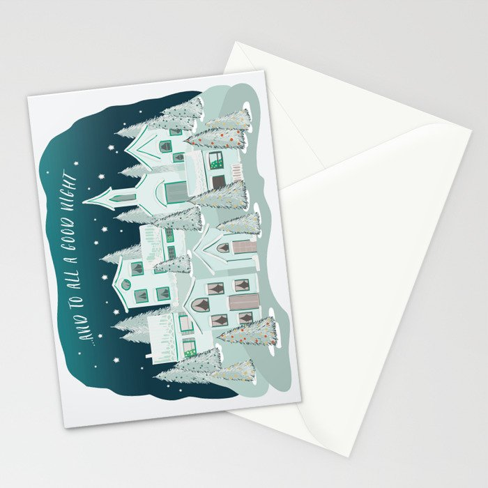 Christmas Village... and to all a good night Stationery Cards
