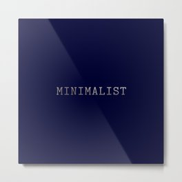 Dark Navy Blue and Silver Minimalist Typewriter Font Metal Print