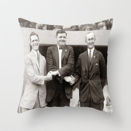 Babe Ruth, George Sisler, Ty Cobb  Circa 1924 Throw Pillow
