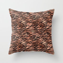 Copper and black metal tiger skin Throw Pillow