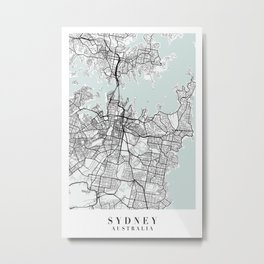 Sydney Australia Blue Water Street Map Metal Print