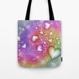Rainbow Love Hearts Fractal Tote Bag