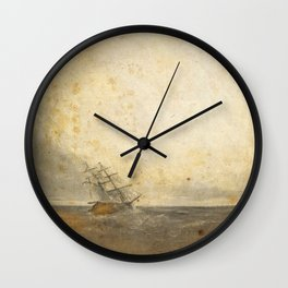 Ship against the tides Wall Clock