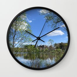 Towering Building in the Distance Wall Clock