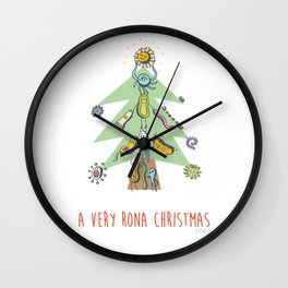 A Very Rona Christmas Virus Doodle Wall Clock