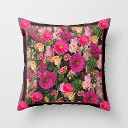 PINK FLOWERS GARDEN PUCE ART PATTERNS Throw Pillow