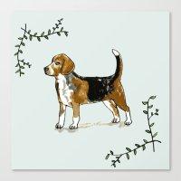beagle Canvas Prints featuring Beagle by Rebecca Mcmillan