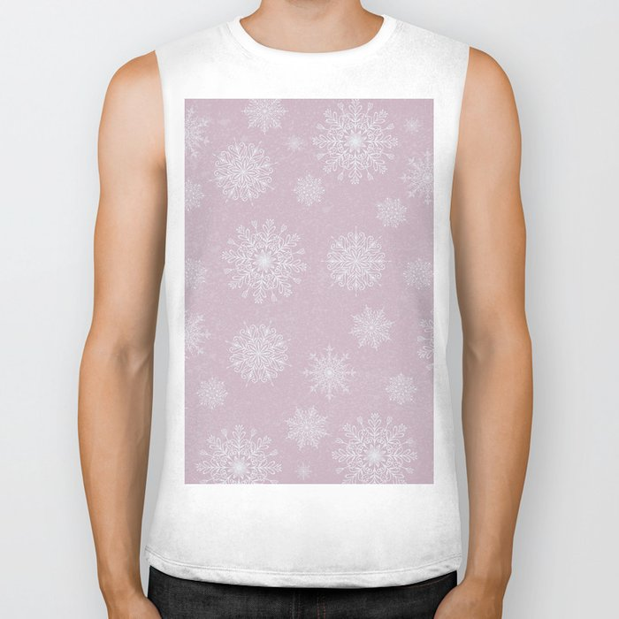 Assorted Snowflakes On Pink Background Biker Tank