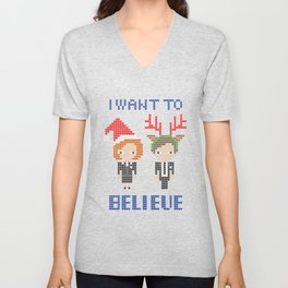 I Want To Believe: Christmas Edition Unisex V-Neck