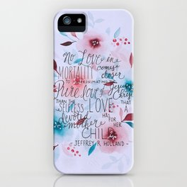 Devoted Mother Watercolor Quote iPhone Case