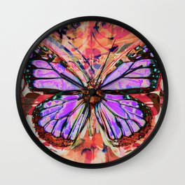 Stained Glass Butterflies Wall Clock