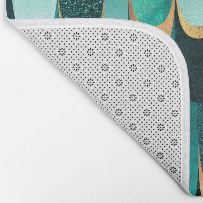 Feathered - Turquoise Bath Mat