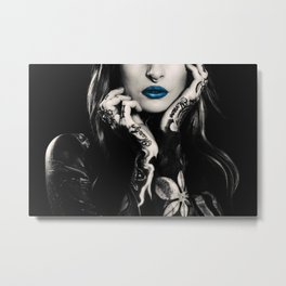 Girl with flowers tattoo Metal Print