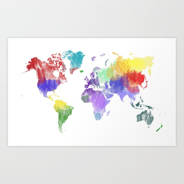 Colorful world map Art Print by mormor | Society6