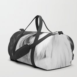 A Puppy Saying Hello Black and White Duffle Bag