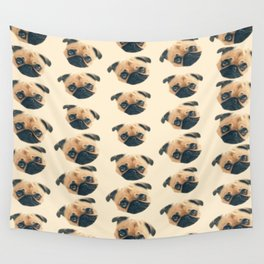 cartoon cute puppy dog fawn pug pattern Wall Tapestry