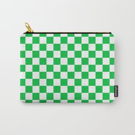Small Checkered - White and Dark Pastel Green Carry-All Pouch