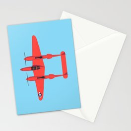 P-38 Lightning WWII Fighter Aircraft - Red Stationery Cards