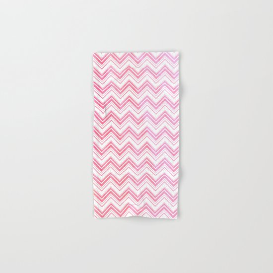 Chevron pattern pink watercolor on white #Society6 Hand & Bath Towel