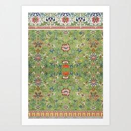 Asian Floral Pattern in Jade Green Antique Illustration Art Print