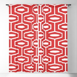 Geometric Ogee Pattern 144 Red Blackout Curtain