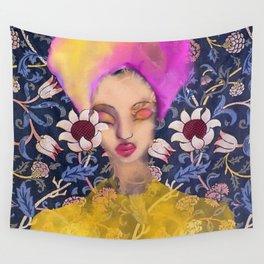 Enchanted Garden Romantic Floral Art Nouveau Watercolor Portrait Wall Tapestry