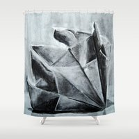 origami Shower Curtains featuring ORIGAMI by The Traveling Catburys