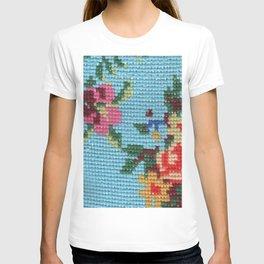 needlepoint flowers & cat T-shirt