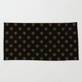 Foil Bees on Black Gold Metallic Faux Foil Photo-Effect Bees Beach Towel