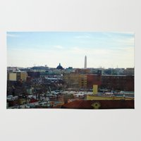 washington dc Area & Throw Rugs featuring Washington DC Rooftops by Robert McHugh