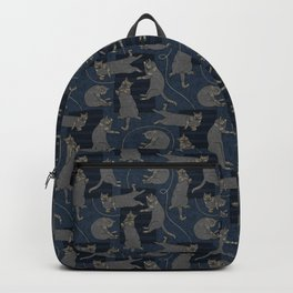 Lounging Cats On Terrazzo - Blue Backpack