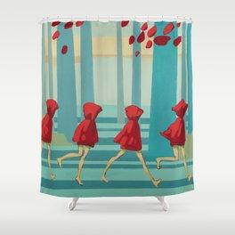 Five Little Riding Hoods I/III Shower Curtain
