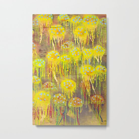 Polka Dot Jellyfish Metal Print