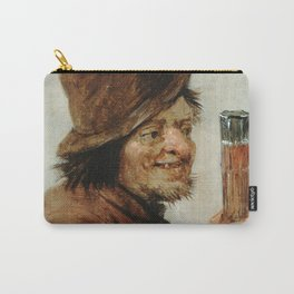 Teniers  David The Younger - A Peasant Holding A Glass Carry-All Pouch