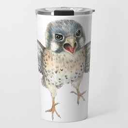 Cranky Kestrel Bird Illustration Travel Mug