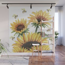 Sunflowers and Honey Bees Wall Mural