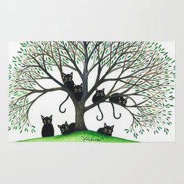 Borders Whimsical Cats in Tree Rug