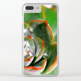 Orange-Tipped Green Succulents Clear iPhone Case