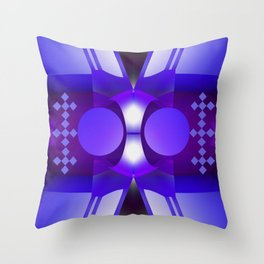 Geometric abstract in purples and grey Throw Pillow