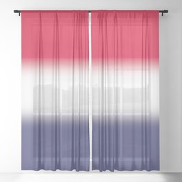 Red White and Blue Gradient Ombré Sheer Curtain