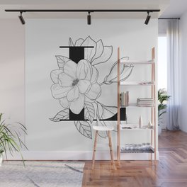 Monogram Letter L with Magnolia Line Art  Wall Mural