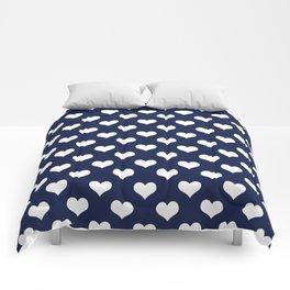 Navy Blue Love Hearts Minimal Comforters
