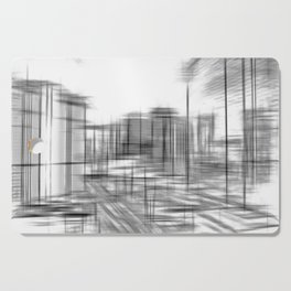 pencil drawing buildings in the city in black and white Cutting Board
