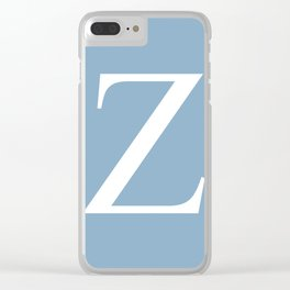 Letter Z sign on placid blue background Clear iPhone Case