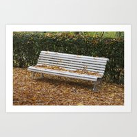 autumn bench Art Print