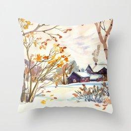 Late Autumn. First Snow. Rural Landsape. Birches Throw Pillow