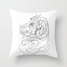 Dragon and capricorn Throw Pillow